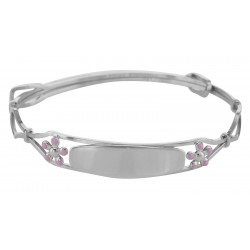 Childrens Flower ID Bangle - Adjustable - Made in USA - Sterling Silver
