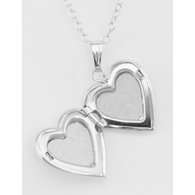 Sterling Silver Heart Shaped Childs Locket with Chain - 13mm