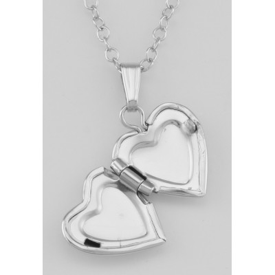 Cute Sterling Silver Baby Heart Locket with Chain - 10mm