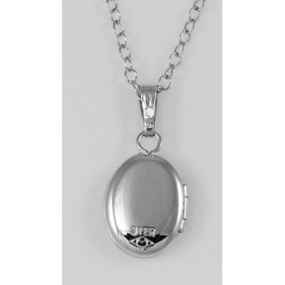 Sterling Silver Baby Oval Locket - 8 x 10mm Made in USA