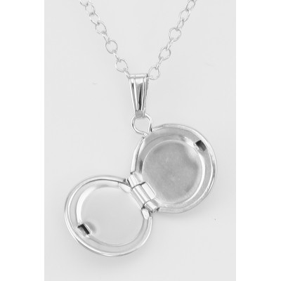 Sterling Silver Baby Round Locket with Chain - 10mm
