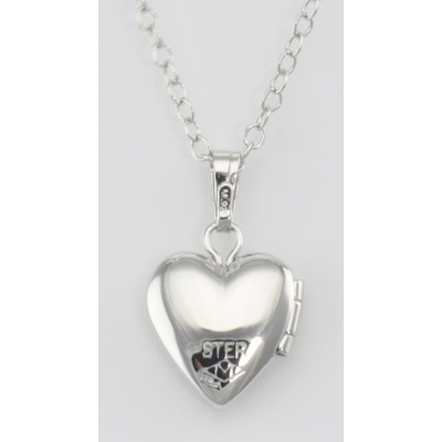 Sterling Silver Baby Heart Locket Floral Design with Chain - 10mm