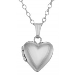 Sterling Silver Baby Heart Shaped Locket with chain - 10mm