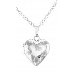 Sterling Silver Hearts Design Children's Locket w/ 15 Inch Chain made in USA