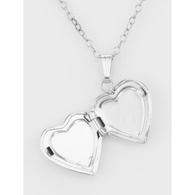 Sterling Silver Hearts Design Childrens Locket w/ 15 Inch Chain made in USA