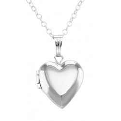 Sterling Silver Children's Heart Shaped Locket with Chain - 13mm