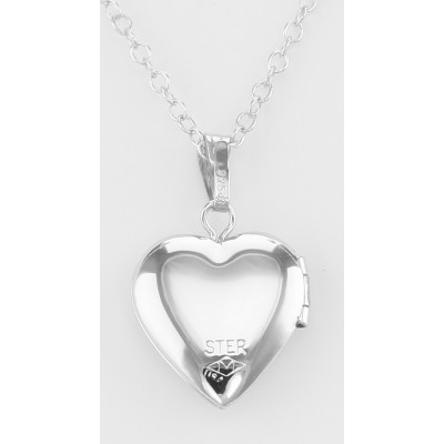 Sterling Silver Childrens Heart Shaped Locket with Chain - 13mm