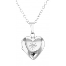 Sterling Silver Children's Heart Diamond Locket with Chain - 12mm