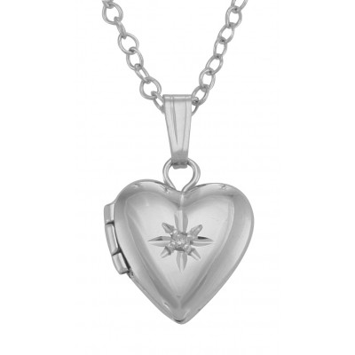 Sterling Silver Baby Heart Diamond Locket with Chain - 10mm