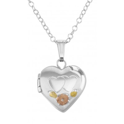 Sterling Silver Childs Heart Locket Floral Design with Chain - 12mm