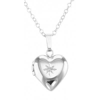 Sterling Silver Childrens Heart Diamond Locket with Chain - 12mm