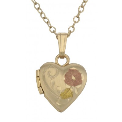 14K Gold Filled Baby Heart Locket Floral Design with Chain - 10mm - USA