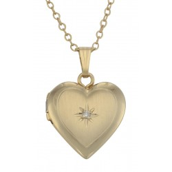 14K Gold Filled Children's Heart Diamond Locket with Chain 13mm USA