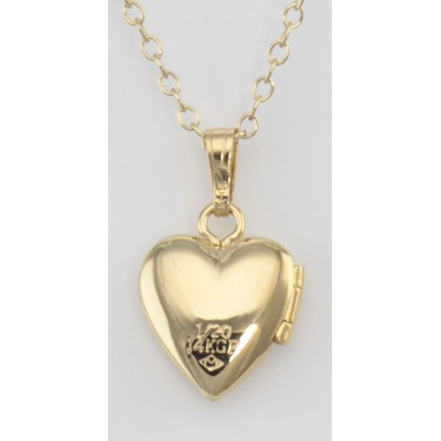 14 K Gold Filled Baby Heart Locket with Chain - 10mm - Made in USA