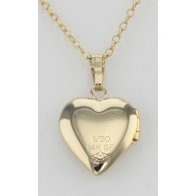 14K Gold Filled Childrens Heart Shaped Locket with Chain 13mm USA