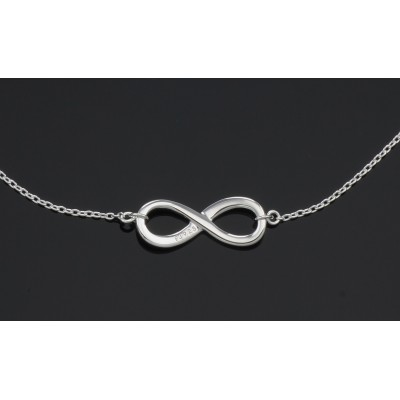 Beautiful Infinity Necklace with Adjustable Chain in Fine Sterling Silver