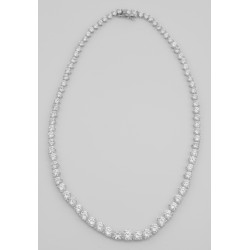 Lovely 81 Prong Set CZ's Cubic Zirconia Necklace in Fine Sterling Silver