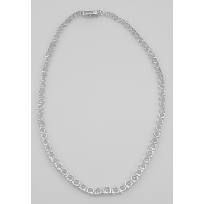 Lovely 81 Prong Set CZs Cubic Zirconia Necklace in Fine Sterling Silver