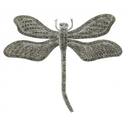 Marcasite Dragonfly Pin - Moving Wings - Sterling Silver