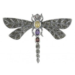 Multi Gemstone Marcasite Dragonfly Pin Sterling Silver