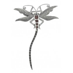 Marcasite / Garnet Dragonfly Pin or Brooch - Sterling Silver