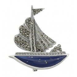 Sailboat Pin - Lapis / Marcasite - Sterling Silver