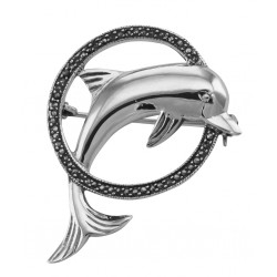 Jumping Dolphin and Marcasite Hoop Pin / Brooch - Sterling Silver