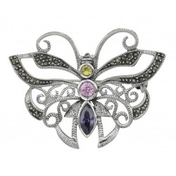 Marcasite Butterfly Pin with Gemstones - Sterling Silver
