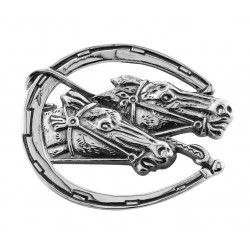 Race Horse - Horseshoe Pin - Sterling Silver