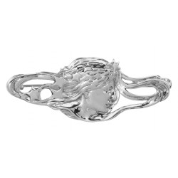 Art Nouveau Style Pin - Lady with Flowing Hair - Sterling Silver