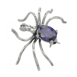 Amethyst Spider Pin or Brooch - Sterling Silver