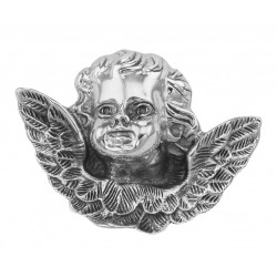 Winged Cherub Head Pin or Brooch - Sterling Silver