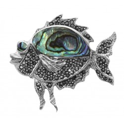 Cute Abalone Shell and Marcasite Fish Pin / Brooch - Sterling Silver