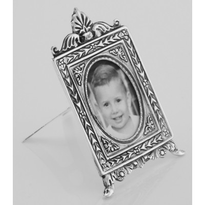 Vintage Neoclassical Style Mini Picture Frame in Fine Sterling Silver