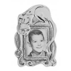 Cute Cat Mini Picture Frame in Fine Sterling Silver