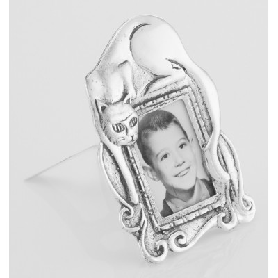 Cute Cat Mini Picture Frame in Fine Sterling Silver