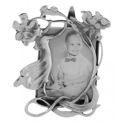 Vintage Art Nouveau Style Figural Mini Picture Frame in Fine Sterling Silver