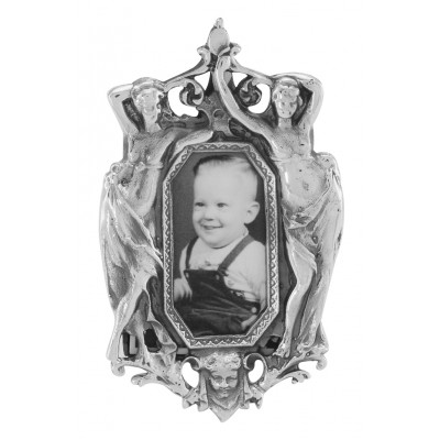 Vintage Art Nouveau Style Mini Picture Frame in Fine Sterling Silver