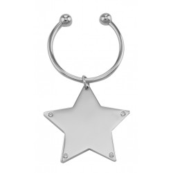 Engravable Star Keychain with Crystal Accents - Free Engraving
