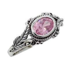 Beautiful Antique Style Pink CZ Ring - Sterling Silver