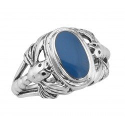 Unique Dragonfly Design Blue Agate Ring - Sterling Silver