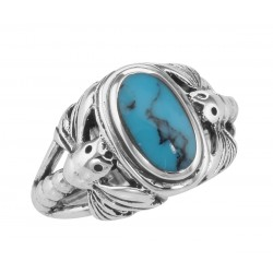 Unique Dragonfly Design Turquoise Ring - Sterling Silver