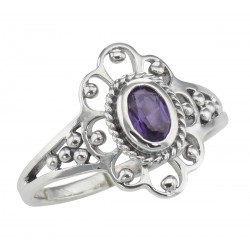Antique Style Genuine Purple Amethyst Ring - Sterling Silver