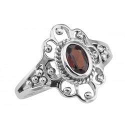 Antique Style Genuine Red Garnet Ring - Sterling Silver