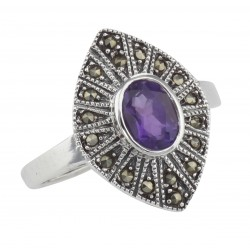 Lovely 1/2 Carat Genuine Amethyst and Marcasite Ring - Sterling Silver