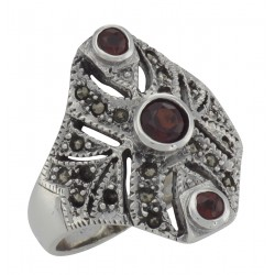 Unique Victorian Style 3 Garnet and Marcasite Ring - Sterling Silver