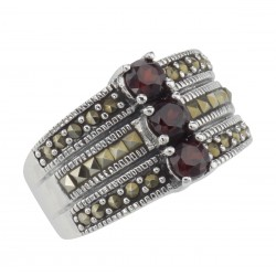 3 Stone Genuine Red Garnet and Marcasite Ring - Sterling Silver