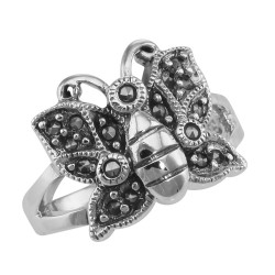Antique Style Marcasite Butterfly Ring - Sterling Silver