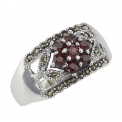 Floral Design Red Garnet Ring with Marcasite accents - Sterling Silver