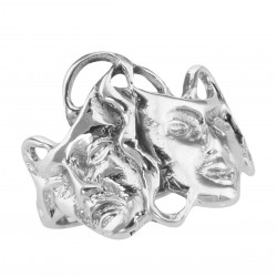 Classic Comedy  Tragedy Ring - Sterling Silver